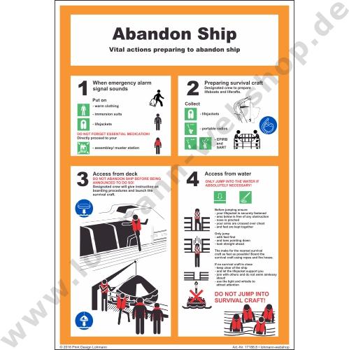 schild abandon ship 24x35cm h lohmann schiffs und industriebedarf e k. Black Bedroom Furniture Sets. Home Design Ideas